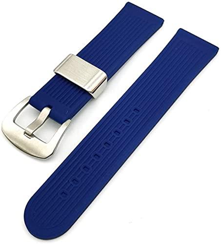 PINGZG Correa de Silicona, Correa de Reloj de Goma 22mm Hombres Silicona Deporte Muñeca Pulsera Pulsera Cinturón Selección Multicolor, cómodo Transpirable (Color : B Blue, Size : 22mm)