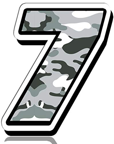 Biomar Labs® Startnummer Nummern Auto Moto Vinyl Aufkleber Sticker Grau Tarnung Camouflage Motorrad Motocross Motorsport Racing Nummer Tuning 7, N 237