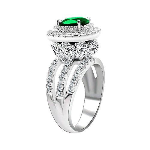 Uloveido Frauen Silber Farbe Simuliert Square Green Smaragd Versprechen Ring Blume Cocktail Party Prom Ring mit Marquise Cut Zirkonia Größe 54 (17.2) RJ213