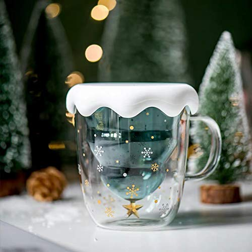 Fun Christmas Coffee Mugs Holiday Cups, 10oz Double Wall Glass Tableware with Lid and Handle, Tree Snowflake Glassware for Tea, Milk, Beverage, Juice, Water, 300ML (With Lid)