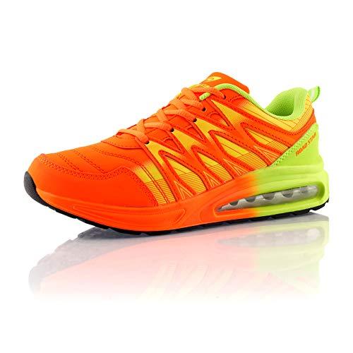 Fusskleidung® Damen Herren Sportschuhe Dämpfung Sneaker leichte Laufschuhe Orange Grün EU 44