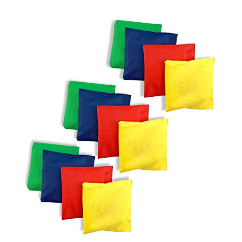 Tytroy Set of 12 Assorted 5' Primary Color Nylon Bean Bags Carnival Game Toy Corn Hole (12 Pack)