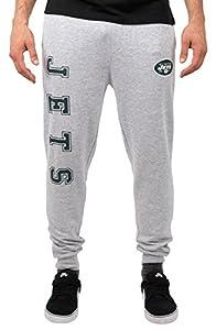 Ultra Game NFL New York Jets Mens Jogger Pants Active Basic Fleece Sweatpants, Heather Gray 18, Large