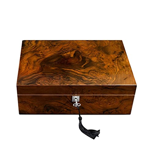 Mini Humidor für Reisen, Zigarren Humidor Handgefertigter Zigarren Humidor, Zedernholz Zigarre Desktop Box/mit Luftbefeuchter und Messgerät/kann 25-50 Zigarren aufnehmen/32x23x11cm (Color : Brown) für