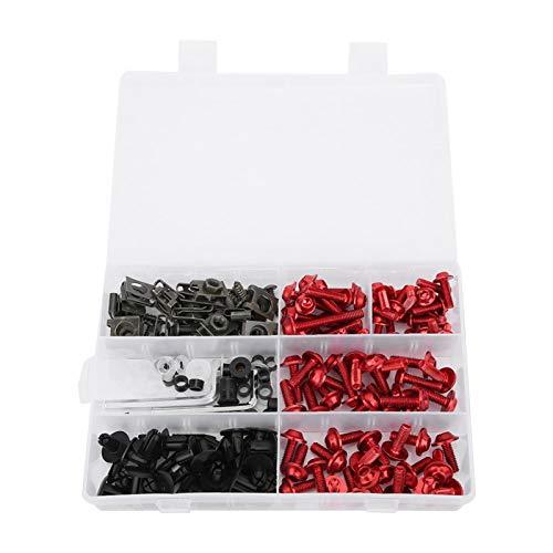 Kit bulloni per carenatura, 198 pezzi/set viti per carenatura parabrezza M5 Kit bulloni M6 Accessori per moto(Rosso)