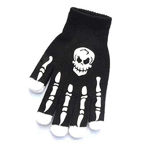 MEIBAOGE Halloween Skeleton Gloves Full Finger Knitted Winter Mittens Bone Gloves Novelty Photo Props Stage Party Supplies,Skeleton Gloves-A
