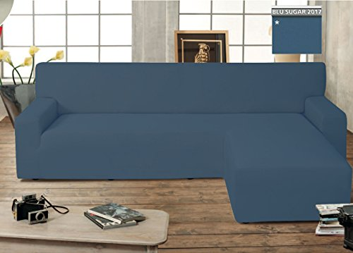 Capitan Casa Canapé protège-canapé Genius avec péninsule Chaise Longue modèle Swing Bleu Sugar Destra Blu Sugar