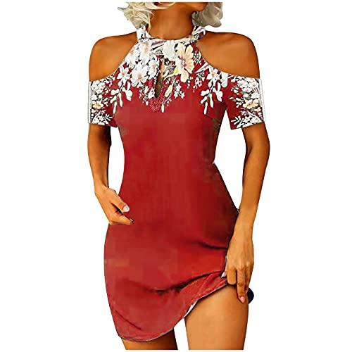 Aocase Vestido de verano para mujer, sexy, a la moda, informal, estampado monocolor, vestido de baile, manga corta, hombros descubiertos, vestido de cuello halter