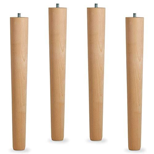 4er Set Tischbeine Buche roh H 420 mm/Ø 60/40 mm mit Gewindestift M10 / Ideal für Möbel & Couch-Tische/Holzbein Couchtisch Tischfüße Holz Möbelfüße von SO-TECH®