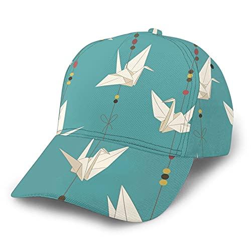 GCDD Gorra de béisbol curvada 3D japonesa origami grúas de papel ajustable Snapback curvado Tapas deporte papá sombrero camionero sombreros para hombres mujeres negro