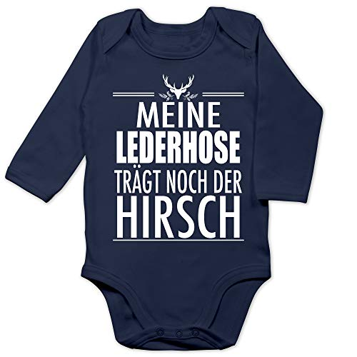 Shirtracer Oktoberfest & Wiesn Baby - Meine Lederhose trägt noch der Hirsch - weiß - 3/6 Monate - Navy Blau - Baby Lederhose - BZ30 - Baby Body Langarm