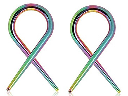 Body Accentz Earrings Rings 316l Surgical Steel Swirl Twist Tapers - Sold As a Pair 12g Rainbow