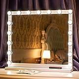 24.4 / 20.4 pulgadas Hollywood Light Up Vanity Espejo de maquillaje plateado con luces LED para el tocador de maquillaje Espejo cosmético iluminado profesional con 16 bombillas regulables incluye fuen