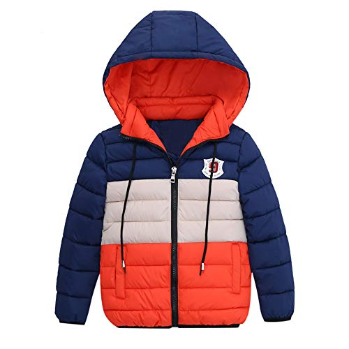 FeiliandaJJ FeiliandaJJ Kinder Mantel Junge,Toddler Winterjacke mit Kapuze Zipper Outwear Jacken Kids Coat Baumwoll Warme Kleidung 4~7 Jahre alt (120 (4~5 Jahr alt), Orange)