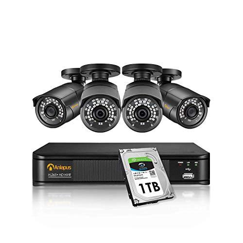 Anlapus 8CH H.265+ 5MP 2K Super HD PoE NVR Videobewakingssysteem met 1TB Harde Schijf en 4 Buiten 5MP POE Bewakingscamera Set voor Binnen en Buiten, IP67 Waterdichte Metalen Behuizing