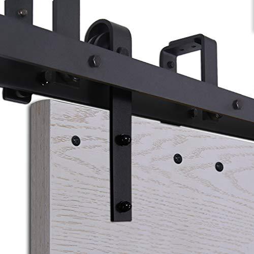 CCJH 6FT-183cm Retro Bypass Corredizo de Madera Granero Puerta Hardware Kit Armario Corredizo de la Riel Colgadores de Rueda para Puertas Dobles Flat Shaped