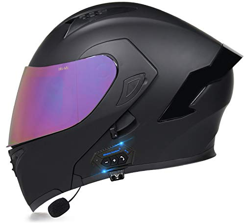 TKTTBD Casco De Moto Modular Bluetooth Integrado con Doble Anti Niebla Visera Cascos De Motocicleta ECE Homologado A Prueba De Viento Respuesta Automática Manos Libres J,S