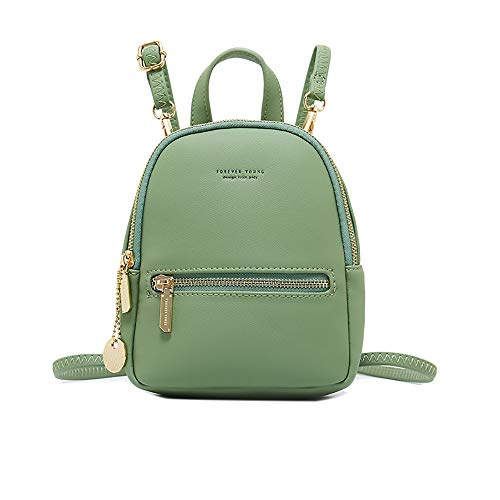 Small Leather Backpack Mini Cute Casual Daypack Fashion Zippered Pockets Crossbody Bags for Women Girl - Green
