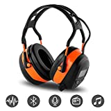 FM MP3 Bluetooth Radio Headphones Wireless Cancelling Headphones with 4GB Memory card Built-in Mic Electronic Noise Reduction Safety Ear Muffs Protection for Lawn Mower Work by WULFPOWERPRO