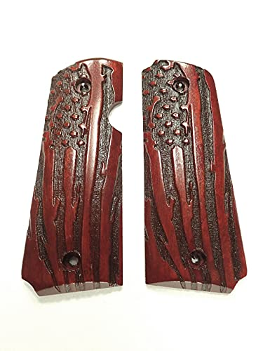 American Flag Rosewood Rock Island 380 1911 Grips Engraved Textured