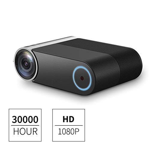 Mini Beamer,Home Business Tragbarer Projektor 1080P Full HD unterstützt,30000 Stunden Lebensdauer Kompatibel mit HDMI / USBX2 / VGA/AV,Videoprojektor Heimkino Filmprojektor (schwarz)