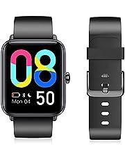 Smartwatch, dames heren smartwatch met bloedzuurstof, 3,5 cm groot kleurendisplay, fitnessarmband met hartslagmeter, waterdicht IP68, stappenteller, slaapmonitor, GPS fitness horloge voor Android iOS