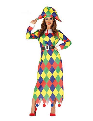 COOLMP Déguisement arlequin Multicolore Femme - Taille L (42-44) - Déguisement pour Adulte, Costume, soirée déguisée, Carnaval, Nouvel an, Anniversaire
