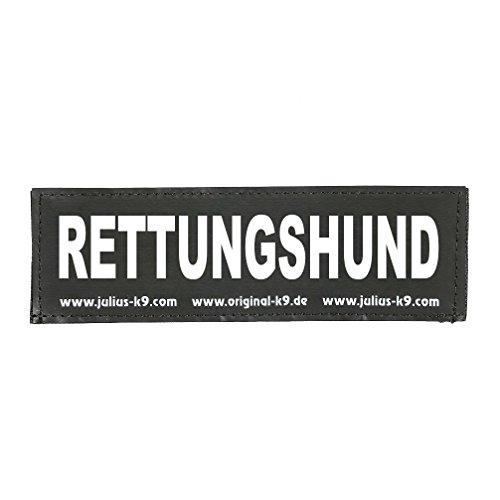 Julius-K9 162LR-K-30256 Klettaufschrift, RETTUNGSHUND, klein, schwarz