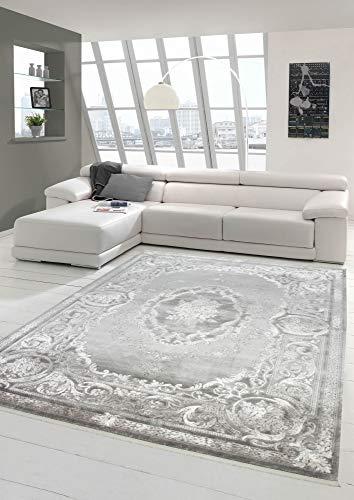 Designer Wollteppich Klassische Ornamente in Grau Creme Größe 200 x 290 cm