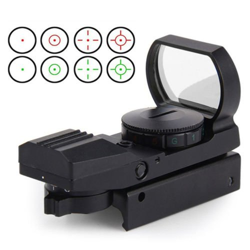 AceZone Reflex Sight Red Green Dot Airsoft Optic Holographic Tactical Riflescope 4 Reticles With 20mm Mount Rails,Black