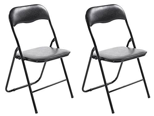 CLP 2er Set Klappstuhl Felix Gepolstert I Küchenstuhl Mit Metallgestell I Kunstleder PVC Sitz Gepolstert I Stühle Klappbar I Campingstühle, Farbe:schwarz/schwarz