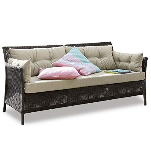 Loberon Sofa Tampa, Aluminium/Polyrattan, H/B/T ca. 78/186 / 80 cm, braun/Creme