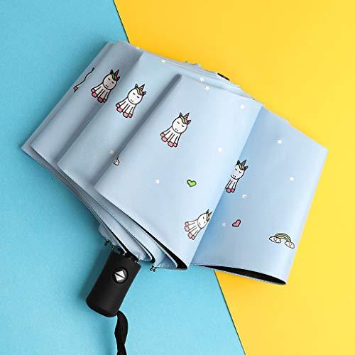 LWH Klappschirm,automatischer Regenschirm,tragbarer UV-Sonnenschutz Anti-Rost-Schutz Sonnenschutz P.R.I. beschichteter Sonnenschirm
