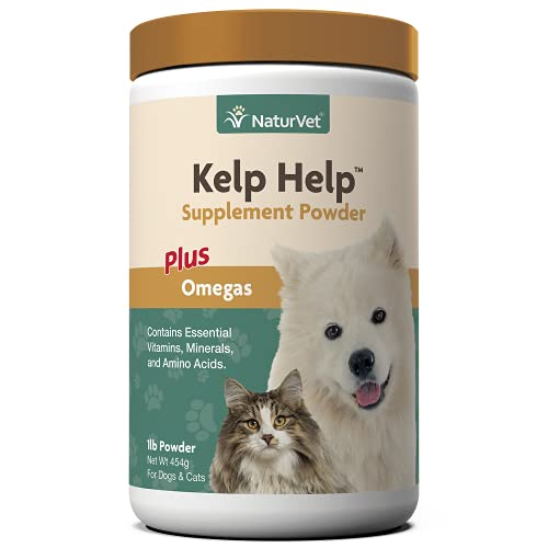 NaturVet Kelp Help Plus Omegas Skin and Coat Supplement for Dogs and Cats, Powder, Made in the USA, 1 Pound