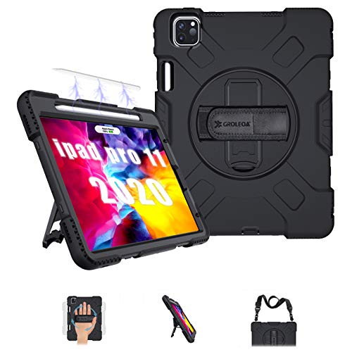 GROLEOA iPad Pro 11 2020 Case/2018 Case, Support Pencil Charging, Shockproof Rugged Kickstand Protective Case for iPad Pro 11 case 2020 Release 2nd Generation with Hand Strap and Shoulder Strap(Black)