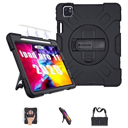 GROLEOA iPad Pro 11 2020 Hülle /2018 Hülle mit Verstellbar Schultergurt, Handschlaufe, 360°Ständer & Stifthalter für iPad Pro 11 Zoll 2020 2.Generation, Unterstützung Pencil Aufladen, Schwarz…