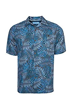 Caribbean Joe Men s Short Sleeve Printed Button Down Shirt Palm Night Large