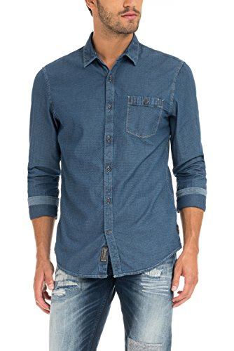 Salsa–Camisa, de jacquard, con waschung y tela vaquera–Hombre azul S