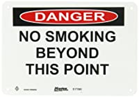 """Master Lock S17500 10"""" Width x 7"""" Height Polypropylene, Black and Red on White Safety Sign, Header """"Danger"""", Legend """"No Smoking Beyond This Poiint"""""""