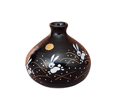 Japonés tradicional Kutani-yaki cerámica jarrón nº 3una flor jarrón negro con luna y conejos K4–1246