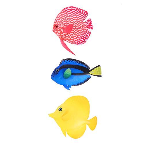 POPETPOP 3 Piezas de Peces Artificiales de Acuario Que Brillan Intensamente Peces Falsos de Silicona Realistas Peces Flotantes en Movimiento Adorno Flotante para La Decoración del Tanque