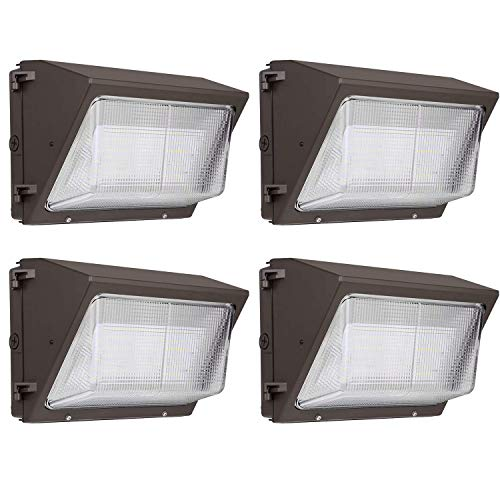 Hykolity High-Output LED Wall Pack,75W 9100lm [400W MH Equivalent] Outdoor Commercial LED Area Security Light,0-10V Dimmable,5000K Daylight - 4 Pack