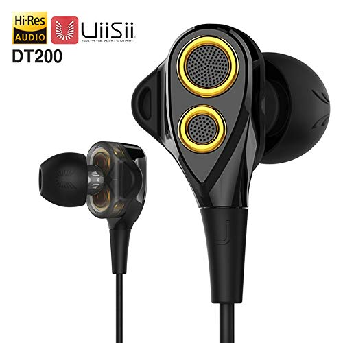 UiiSii DT200 in-Ear Earbuds Earphones Headphones Dual Dynamic Drivers with Mic Strong Bass and Noise Reduction Volume Control Headset for Smartphones Computer PC Tablet (Black/Gold)