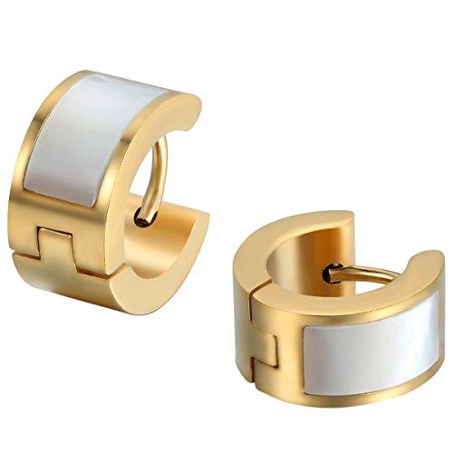 JewelryWe Schmuck Herren Damen Ohrringe, Edelstahl mit künstliche Muscheln Schale Inlay Breit Poliert Creolen Ohrstecker, Gold