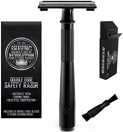 Double Edge Safety Razor - Butterfly Open Razor with 10 Japanese Stainless Steel Blades - Close, Clean Shaving Razor for Men (Black)
