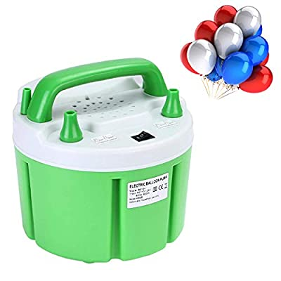 Maddott High Power Electric Balloon Pump, Two Nozzle Balloon Pump Portable Green Air Blower, Automatic Inflator 110V 850W 24000pa for Wedding Party Holiday Decoration, Green
