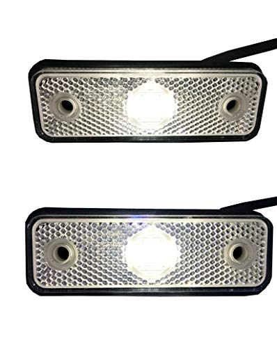 2x Weiß LED Begrenzungsleuchte 12V 24V Umrissleuchte Anhänger LKW E-9 102x36x17