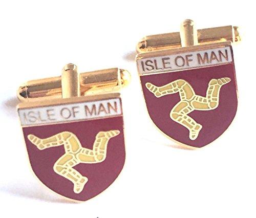 Personnalisé Isle of Man en émail Boutons de manchette Huppé (N65)