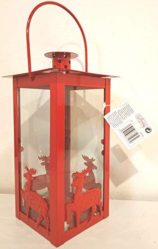 Due Esse SRL lantaarn, rood, voor theelichtjes of theelichtjes (H.20 cm) Renne