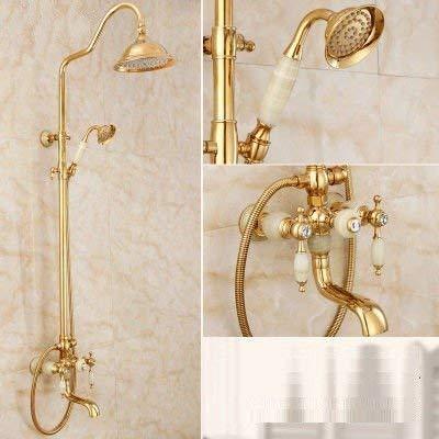 Fantastic Deal! YH-KE Shower Systems , Bathroom Sink Faucet Basin Mixer Tap Rose Gold Jade Shower Se...